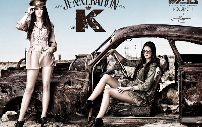 Ultimate Graveyard Mojave Desert Shoot Location - Kendall Jenner & Kylie Jenner Fashion Photoshoot by Nick Saglimbeni for WMB 3D Magazine in post-apocalyptic car