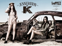 Ultimate Graveyard Mojave Desert Shoot Location - Kendall Jenner & Kylie Jenner Fashion Photoshoot by Nick Saglimbeni for WMB 3D: World's Most Beautiful Magazine in post-apocalyptic car