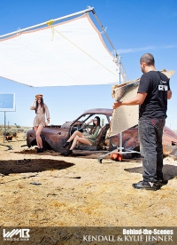 Ultimate Graveyard Mojave Desert Shoot Location - BTS with Kendall Jenner & Kylie Jenner Fashion Photoshoot by Nick Saglimbeni for WMB 3D Magazine on post-apocalyptic car