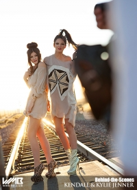 Ultimate Graveyard Mojave Desert Shoot Location - Kendall Jenner & Kylie Jenner Fashion Photoshoot by Nick Saglimbeni for WMB 3D Magazine on Desert Train Tracks