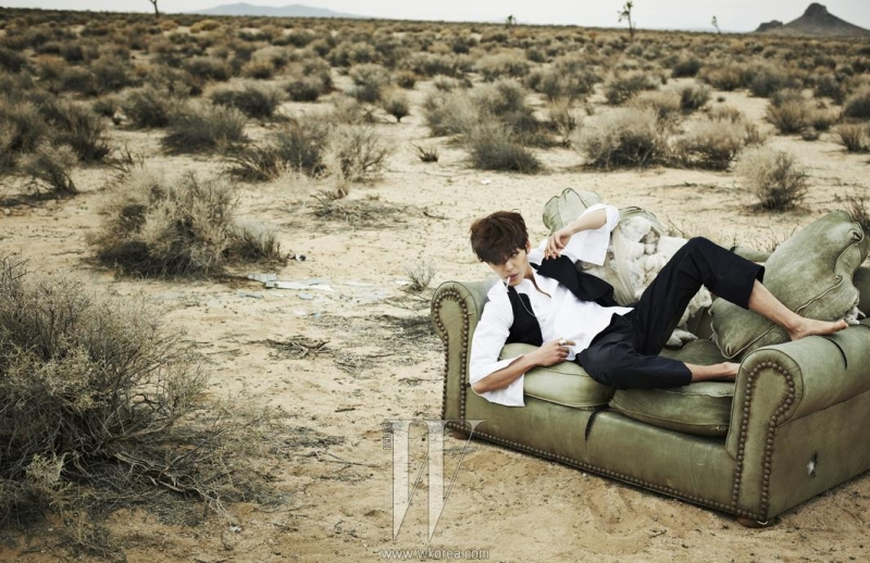 Ultimate Graveyard Mojave Desert Shoot Location - Kim Woo Bin Fashion Photoshoot for W Korea Magazine - Ripped Couch & Mojave Desert Landscape