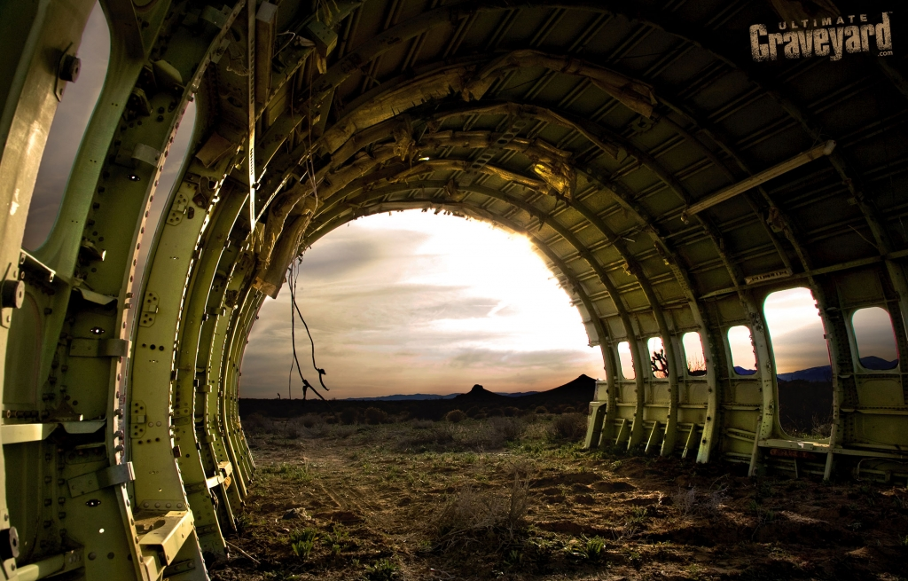 Ultimate Graveyard Mojave California Desert Film Location gutted plane shell