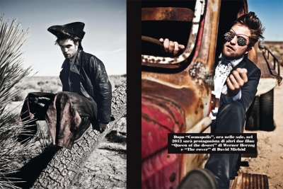 Ultimate Graveyard Mojave Desert - Robert Pattinson Fashion Photoshoot for Luomo Vogue Italia Magazine - Joshua Trees Busted up Cars & Mojave Desert Landscape