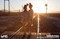 Ultimate Graveyard Mojave Desert Shoot Location - BTS with Kendall Jenner & Kylie Jenner Fashion Photoshoot by Nick Saglimbeni for WMB 3D Magazine on railroad train tracks sunset