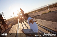 Ultimate Graveyard Mojave Desert Shoot Location - BTS with Kendall Jenner & Kylie Jenner Fashion Photoshoot by Nick Saglimbeni for WMB 3D Magazine on railroad train tracks