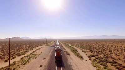 Ultimate Graveyard - Aerial drone shot of the Mojave desert film location featuring working railroad train tracks