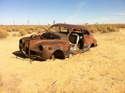 UltimateGraveyard Mojave Desert Photography & Film Location - Rusted Old 2-Door Car