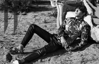 Ultimate Graveyard Mojave Desert Shoot Location - Kim Woo Bin Fashion Photoshoot for W Korea Magazine - Ripped Couch